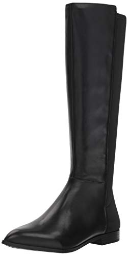 Nine West Women's OWENFORD Leather Knee High Boot, Black, 7.5 M US