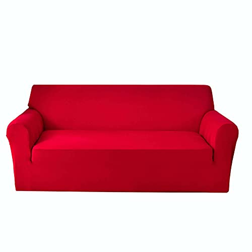 Elasticidad Funda De Sofá, Gruesa Funda para Sofá Fondo Elástico Antideslizante Color Sólido Funda Sofá Lavable para Protector De Muebles para Salón Niños Gato Perros-Rojo-Medium