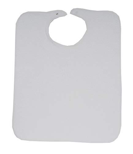 Ti TIN, Lot de 3 Bavoirs Éponge Adulte, 50x60 cm | 73% Coton - 27% Polyester - Fermeture avec Scratch - Couleur unie (Blanc) - 140gr/m²