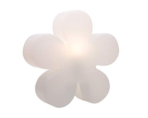 8 seasons design | Große Blumenleuchte Blume Shining Flower (E27, Ø 60 cm, UV-resistent & witterungsbeständig, IP44, Deko Outdoor & Indoor) weiß