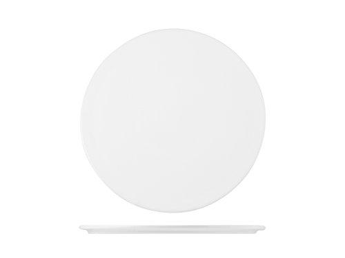 H&H Table Hotelware Plat Plaque Rond, Porcelaine, Blanc, 25 x 25 x 1 cm