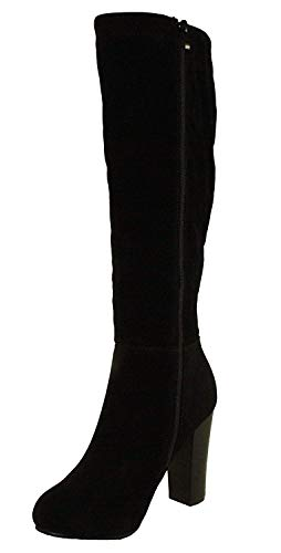 Refresh Women's Ringo-03 Knee High Side Zipper Closure Chunky High Heel Dress Boots,Black,7.5