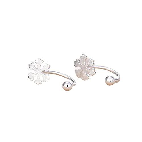 Pendientes de copo de nieve femeninos Pendientes de plata de ley 925 100% reales para mujer Pendientes de botón pequeños de boda con encanto