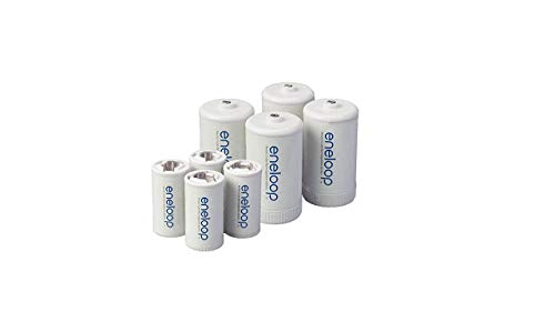 Eneloop Spacers 4 C Size Spacers & 4 D Size Spacers for Use with Ni-MH...