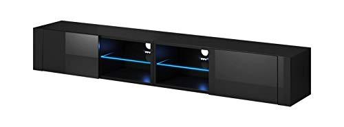 VIVALDI Mobile porta TV - Hit 2 DOUBLE - 200 cm - Nero Opaco   Nero Lucido con illuminazione a LED blu - Stile Design