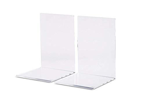 Maul Buchstützen,Hochwertiges Acryl, 2 Stück (10 x 10 x 13 cm, glasklar)