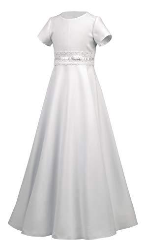 Boutique-Magique Robe Aube de Communion Fille Blanc 10 ans