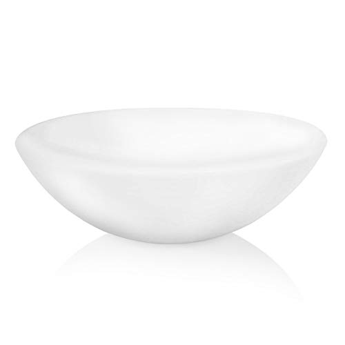Opaque White Vessel Sink - Glass Phoenix Stone Round Bowl