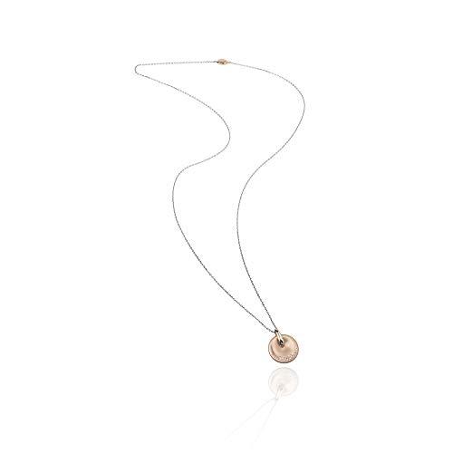 BREIL - Collana da Donna Collezione ILLUSION TJ2630 - Gioielli Donna - Collana in Acciaio Satinato Rose con Pendente Tondo con Cristalli - 80 cm
