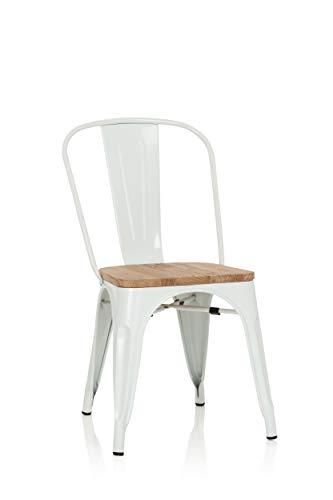 hjh OFFICE 645046 Bistrostuhl VANTAGGIO Comfort W Metall/Holz Weiß Stuhl im Industry-Design mit Holz-Sitzfläche, stapelbar