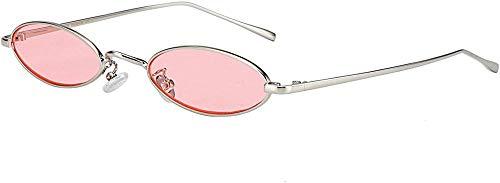 Elxf Gafas de sol de diseño gótico, diseño de moda, retro, forma de pétalos pequeños, vintage, ovalados, marco de metal, gafas de sol ovaladas, gafas de sol vintage ovaladas, pequeñas metal-rosa