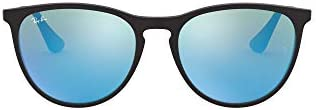 Ray Ban Junior Kids RJ9060SF Erika Asian Fit Round Sunglasses Rubber Black Light Green Mirror product image