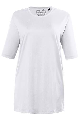 Ulla Popken Damen große Größen bis 72, Basic T-Shirt, Oberteil, Regular Fit, Rundhalsausschnitt, Halbarm, weiß 46+ 486910 20-46+