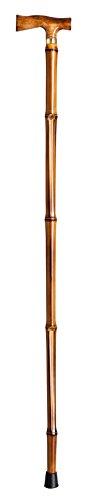 Novolife Nl-31008 Maginot wandelstok in T-vorm met handvat van gevlamd hout bamboe
