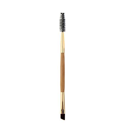 Greatangle Brosse de maquillage en nylon doux poignée en bambou outil de réglage de la forme des sourcils double amélioration de la beauté