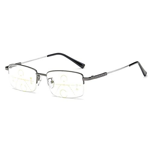 HAOXUAN Gafas de Lectura, Gafas Progresivas Multifocales para Ancianos, Montura de Titanio con Memoria, Lente de Resina de Alta DefinicióN, DioptríAs +1,00 A +3,00,Gun Color,+1.50