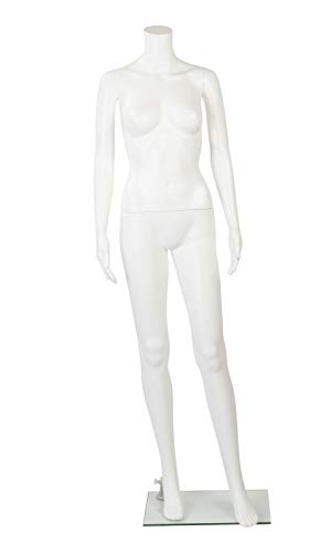 "Female Headless White Plastic Mannequin with Straight Arms - with Base - 5'4""H"