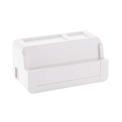 JCNFA Stekkerdoos met overspanningsbeveiliging, met kabelgeleidingsbox, met klepdesign, cord-organizer box voor thuis en op kantoor - 3 kleuren 10.94 * 5.74 * 5.31in wit
