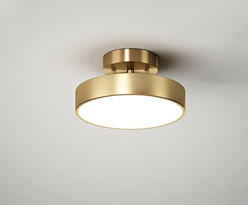 Lámpara de techo de latón dorado giratoria ajustable para pasillo balcón pasillo lámpara de techo LED regulable cobre techo escaleras dormitorio lámpara redonda de salón de metal 20 cm 18 W