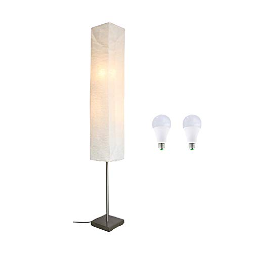 ACMHNC Lámparas de Pie Salon Papel, 2 Luces LED Luz de Piso Dormitorio Con Pantalla de Papel, Luz Blanca Cálida Lámpara Esquina Moderna Para Restaurante Estudio, Base de Metal, E14 * 2, H: 145Cm