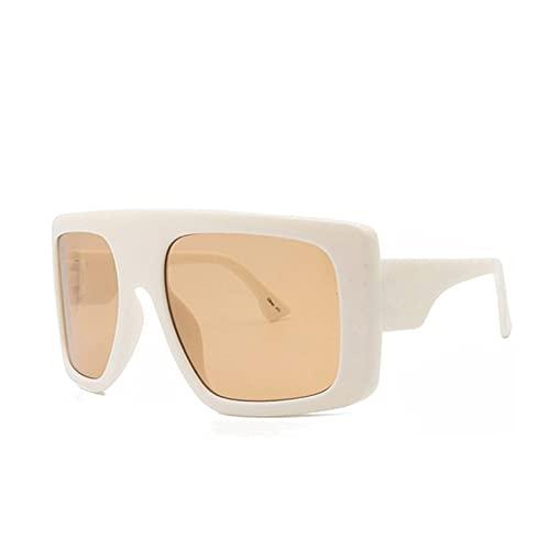 Celebridad Gran Escudo Cuadrado Square Gafas De Sol Mujeres Marca De Gran Tamaño Gafas De Sol Hombres Vintage Beige Shades Lady Windshield Oculos UV400 (Lenses Color : Beige)
