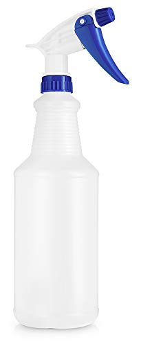 BAR5F Plastic Spray Bottles, 32 oz | Pack of 3 | Leak Proof, Empty, Adjustable, Refillable, Heavy Duty Sprayer | Water Plants, Cleaning Solutions, Hair Mist | Blue & White
