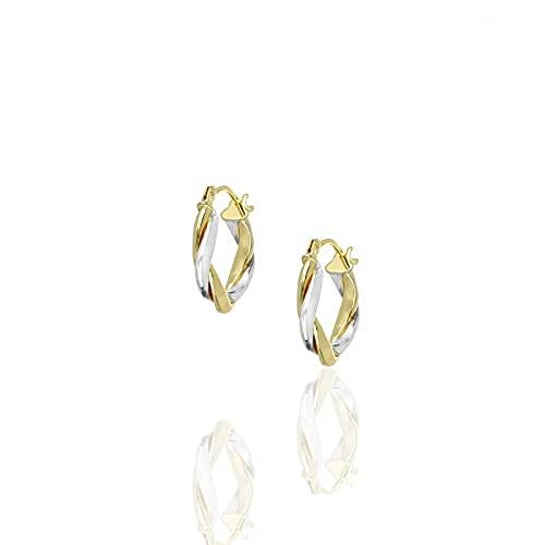 DelPia - Pendientes de aro de oro bicolor 750 con acabado de torchón, 14 mm   Pendientes de mujer de alta calidad   Certificado de garantía y autenticidad