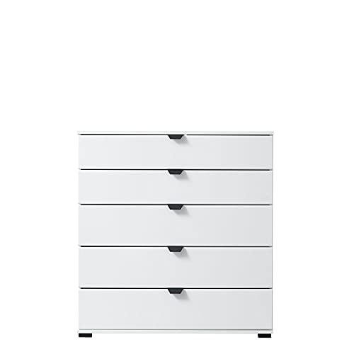 TUCO - Cómoda aparador salón Dormitorio, 5 cajones, Color Lacado Blanco Brillante...