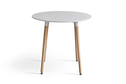 1 mesa redonda de MDF, clásica, diámetro de 80 cm, patas de madera maciza, comedor, sala de estar, balcón de oficina, etc.
