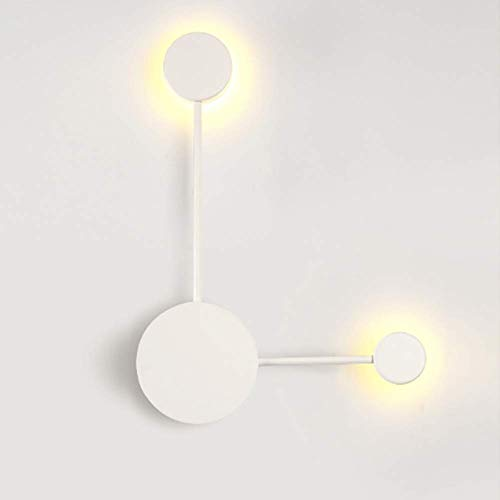 YLLN Lámpara de pared creativa nórdica moderna, LED 8w Lámpara de pared Aplique de pared redondo Apliques de luz nocturna para montaje en la pared para la mesita de noche Pasillo Dormitorio-Blanco 2 l