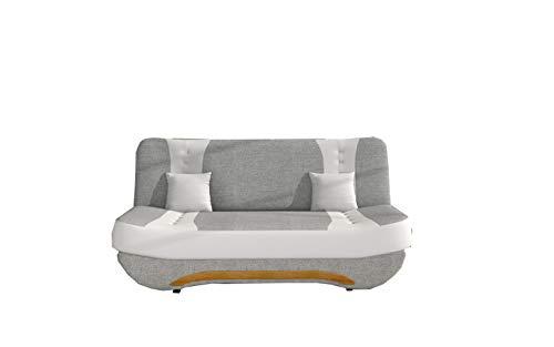 MOEBLO Sofa mit Schlaffunktion und Bettkasten, Couch für Wohnzimmer, Schlafsofa Federkern Sofagarnitur Polstersofa Wohnlandschaft mit Bettfunktion - Feba (Hellgrau+Weiß (Sawana 21+ Soft 17))