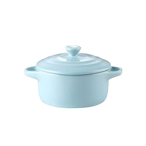Cazuela Cuencos de sopa de porcelana de cerámica de 230 ml con tapa de la tapa y la manija de cereales que sirven tazones para la sopa de arroz de fideos ensalada ramen (Color : Sky blue)