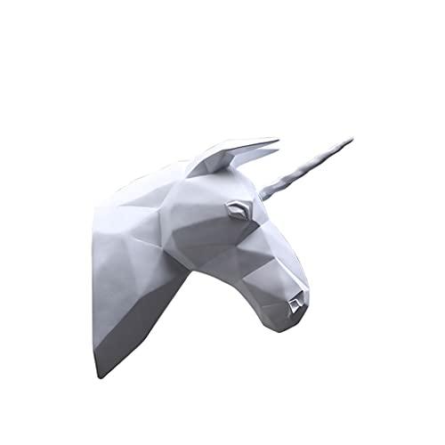 Montaje en pared Simulación Cabeza Pared Colgante Resina Animal Cabeza Tridimensional Sala De Estar Sofá Fondo Pared Decoración Artesanales Regalos Cabeza de Animal (Color : White)