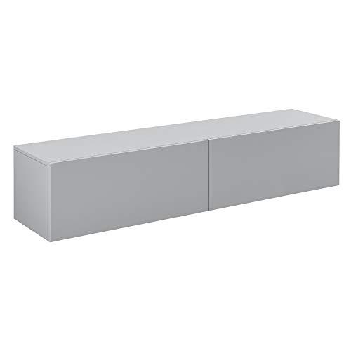 [en.casa] Hängeboard Hellgrau Hochglanz Hängeschrank 140x33x30cm Wohnwand mit 2 Ablagefächern TV Lowboard Hängekonsole Hängend
