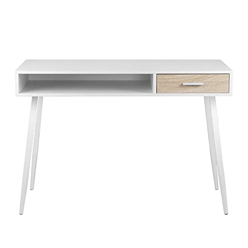 eSituro Scrivania da Ufficio con Cassetto, 110 x 50 x 75 cm, Tavolo PC da Lavoro in Legno, Bianco SCD0024