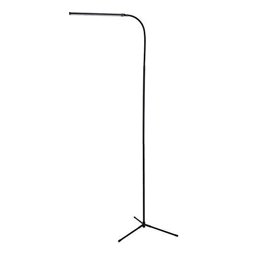 Lámpara de pie LED negra, lámpara de pie, trípode, USB, recargable, regulable, 2 modos de color y luz de lectura flexible con cuello de cisne, clip en la cama, iluminación multiusos para bricolaje