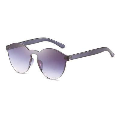 YOULIER Gafas de sol de color caramelo de una pieza gruesa gafas populares para hombres y mujeres parejas al aire libre gafas de sol doble gris