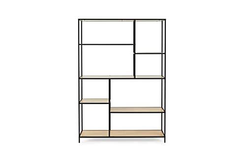 LIFA LIVING XXL Bücherregal aus Holz & Metall für innen, Schwarzer Wandschrank mit 8 offenen Fächern, Bücherregal im Industrie Design, 125 x 33,2 x 175 cm