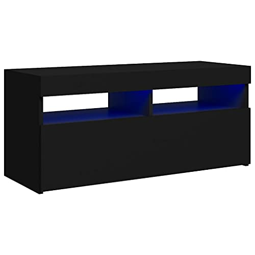 vidaXL Mueble para TV con Luces LED Soporte Armario Aparador Estante Salón Sala de Estar Dormitorio Decoración Entretenimiento Negro 90x35x40 cm