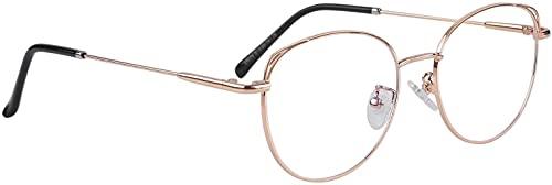 OOTO Blaulichtfilter Brille Bildschirmbrille Anti Müdigkeit Lesebrille Pc Gaming Bluelight Filter Uv Blockieren Blaue Licht Glasses Damen Metallgestell Brille-Golden