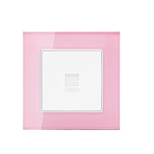 LOYAL TECHNOLOGY-PACKAGE Panel de Vidrio 1 Gang / 2 Gang / 3 Gang / 4 Gang Light Switch y Color Pink Color 2 Way Botón de plástico Interruptor de Pared Fácil instalación (Color : Computer Socket)
