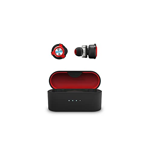 Energy Sistem Earphones FE 650 Auriculares True Wireless (Baja latencia, Dual Driver, Dual MEMS Mic) Negro y Rojo