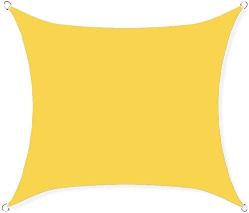 SYGoodBUY Toldo rectangular impermeable para toldo 98% con bloque UV, para patio de jardín al aire libre, con accesorios de montaje (color opcional) (color: amarillo, tamaño: 2 x 2 m)