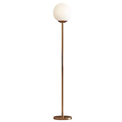 QTDH matglazen bolvormige LED-vloerlamp, modern torchiere hoge paal uplight staan leesvloer licht voor slaapkamer kantoor studeerkamer