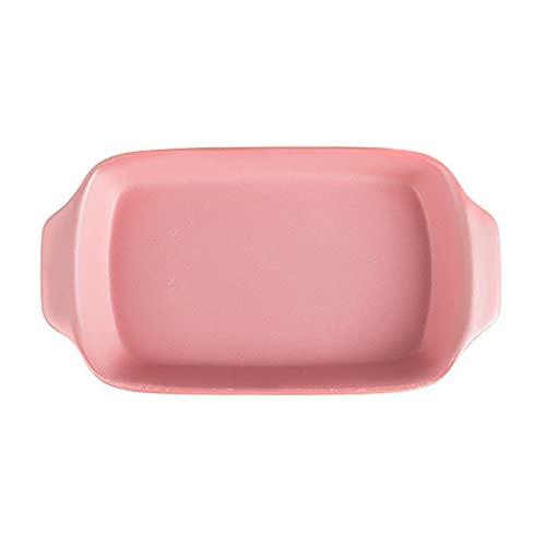 1 Piece Baking Sheet Rectangular Ceramic Bakeware Cheese Baked Rice Supplies 350ml Pink