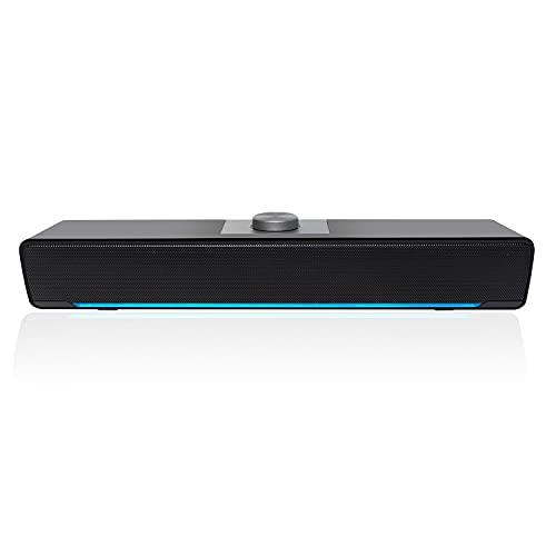 Altoparlanti per Computer, Soundbar 2.0 Cablata Altoparlanti Alimentati a LED USB con Potente Stereo, 3,5 mm Jack, Controllo del Volume per PC, Desktop, Laptop, Nero