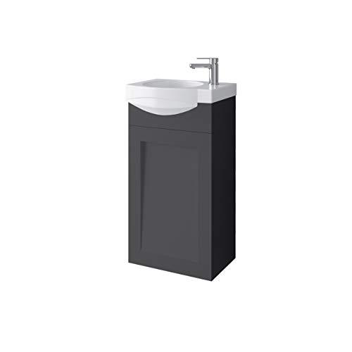 Planetmöbel Waschtischunterschrank Keramikwaschbecken Gäste WC 40cm matt (Anthrazit matt)