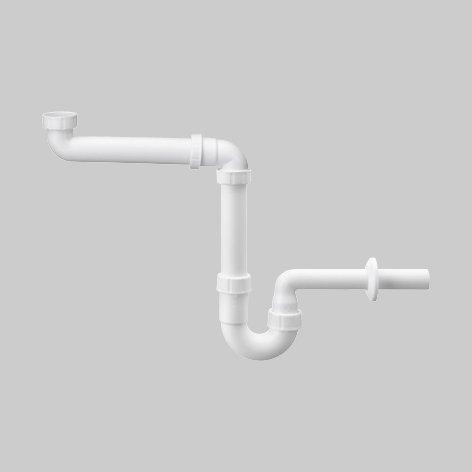 HAAS Raumspar-Waschtisch-Siphon | DN 32 | 1 1/4 Zoll | Kunststoff weiß | Typ 4832 | 1 Stück
