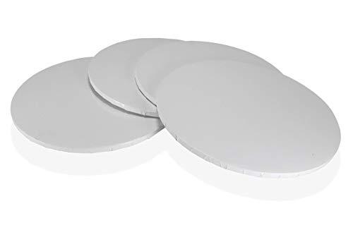 Tortenunterlagen Rund Weiß, Ø 35.5 cm, 4er-Set, 13 mm Dicke, Cake Board Groß, Tortenplatten für Mehrstöckige Torten
