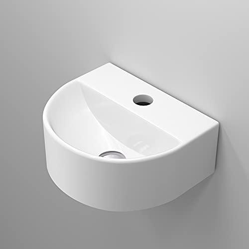 【高級排水セット付き】 おしゃれ 手洗い器 壁掛け 手洗器 コンパクト 小型洗面ボウル 洗面ボール ミニ型 洗面台 手洗いボウル 壁付け型 陶器製 トイレ 手洗い台 半円形